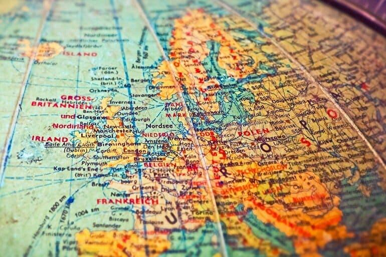 地球ヨーロッパの地図